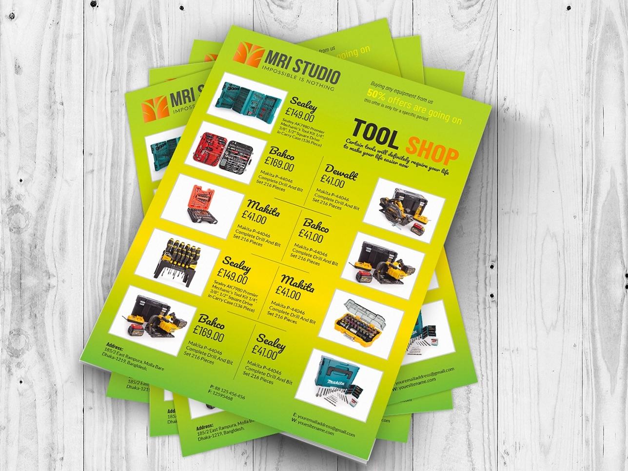 tool shop flyer template by mri khokon dribbble dribbble