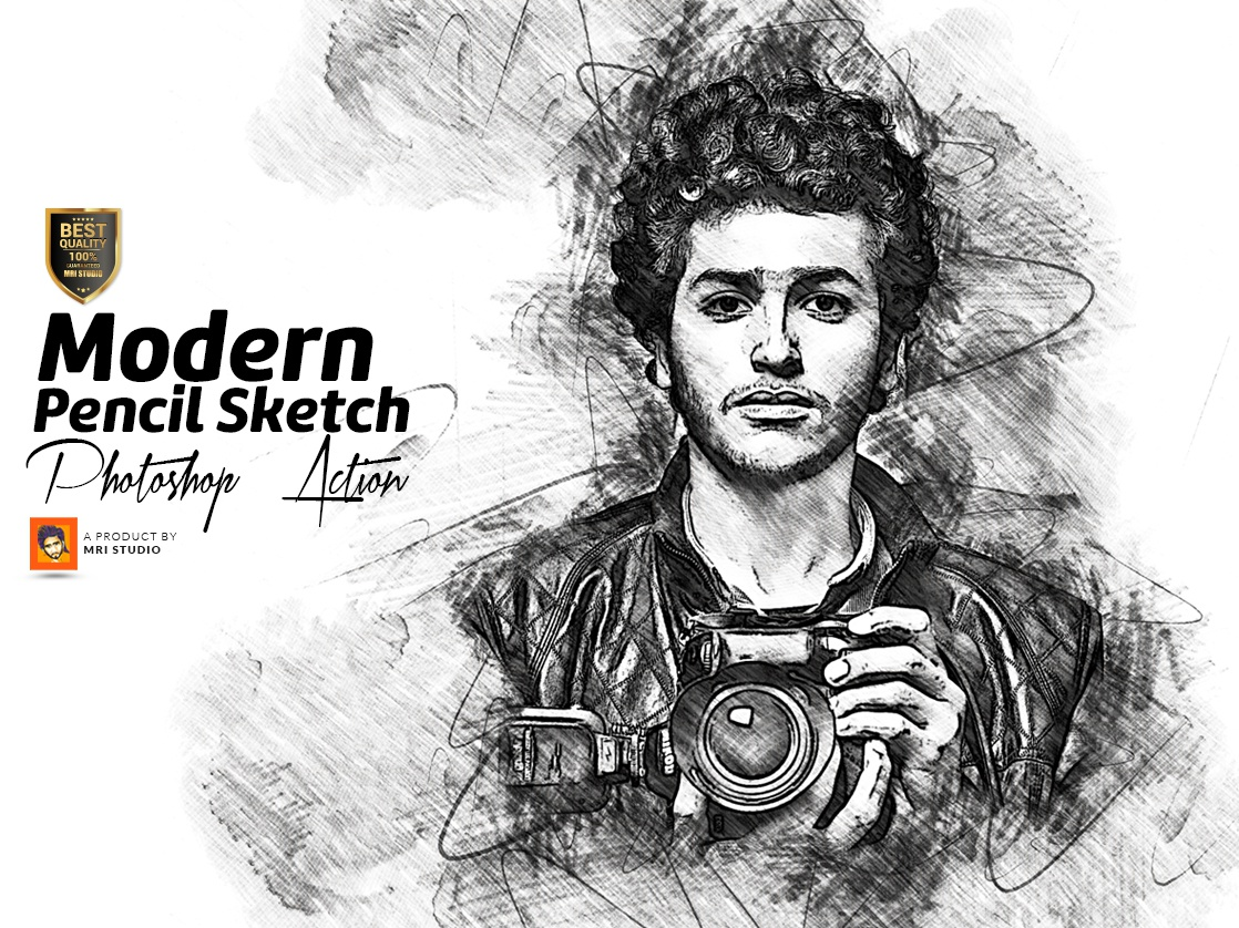 Modern pencil sketch photoshop action draw add ons actions oil paint effect sketch add on watercolor