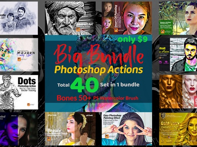 Photoshop Actions Big Bundle free photoshop action add on sketch oil paint effect photoshop action free file photoshop abstract watercolor brush creative artistic drawing action art bundles bundle photoshop actions big bundle big bundle