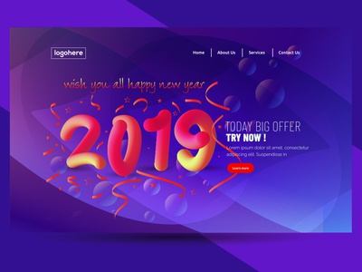 Free 2019 Happy New Year Abstract Web Banner Background