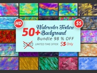 50 Hi Res Watercolor Texture Background Bundle 98   Off