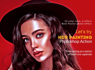 HDR Painting Photoshop Action digital painting paint photoshop pop art realistic art glow modern art portrait color hand drawn abstract sketch painting filter effect photoshop effect photoshop action photoshop action