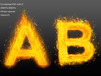 Fire alphabet text