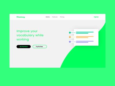 Wordnary | landing page for a dictionary app minimal typography vector logo branding ux ui homepage design landing dictionary landingpage