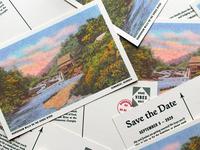 Save the Date design risograph river stamp postcard wedding invitation invite save the date