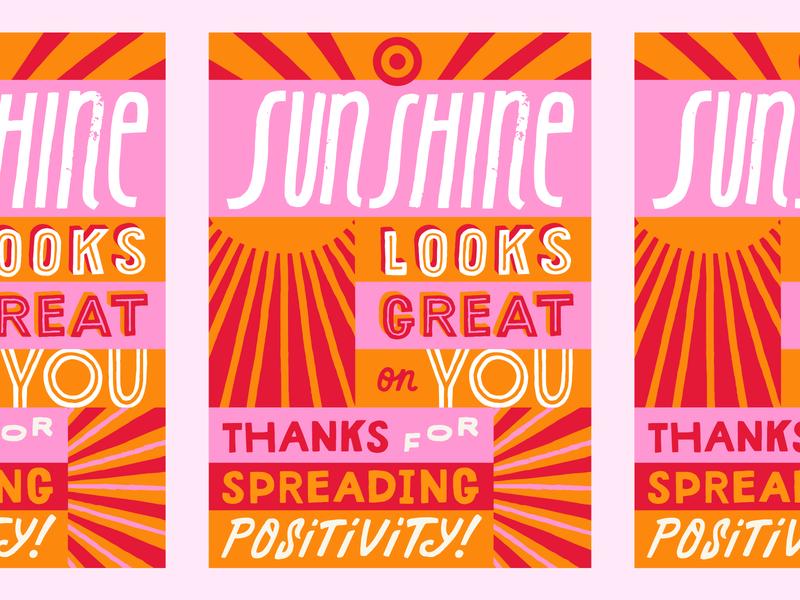 🎯01 bright positivity card recognition handmade type lettering sun sunshine branding bullseye target