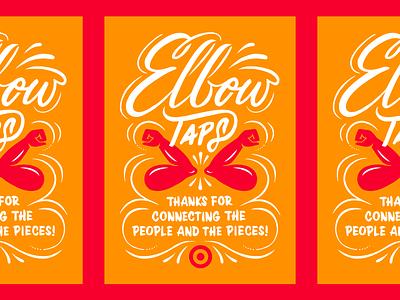 🎯03 arm script brush social distance covid elbows digital typography card bullseye target lettering