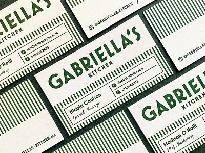 Gabriella's Kitchen pasta stout hemp frozen meals italian branding businesscard letterpress logotype logo