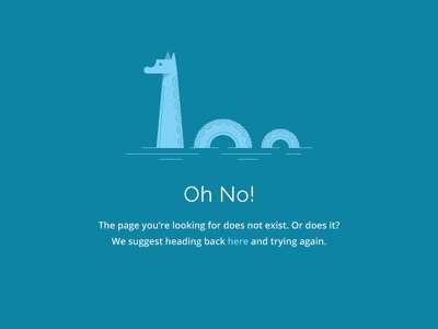 Four Oh Four 404 page error loch ness nessy illustration web