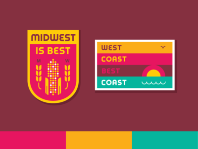 MidWest Coast Best Coast illustration vector patch patches embroidered midwest corn west coast