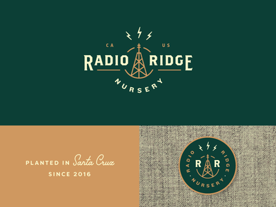 Radio Ridge electricity lightning bolt radio logotype nursery cannabis marijuana branding identity logo