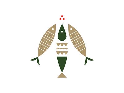 Fisheltoe mark animal holiday mistletoe fish icon illustration
