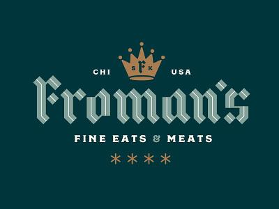 The Sausage King stout froman restaurant meat king abe chicago sausage blackletter crown logotype logo