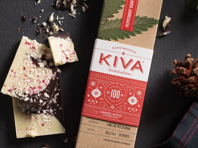 Happy High-lidays kiva type icon stout christmas letterpress holiday peppermint edible marijuana cannabis chocolate packaging branding