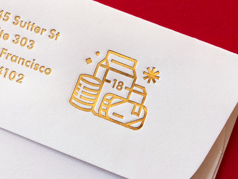 Holiday Goodz card envelope stout christmas holiday gifts letterpress stamp mark iconography icon