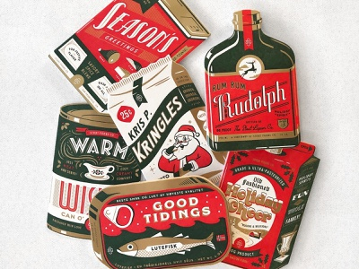 Stout Foods Co stout diecut foil typography vintage packaging illustration letterpress christmas holiday card