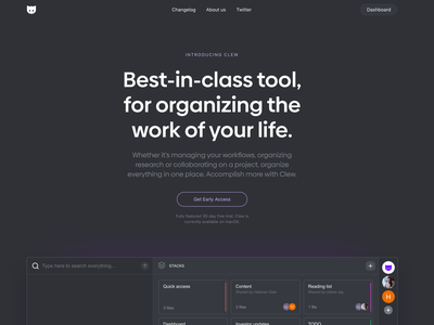 Clew's new landing page landing