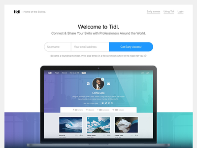 Tidl - First version homepage ux ui web design