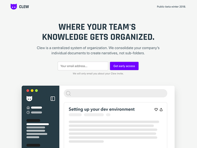 Clew landing page homepage landing clew