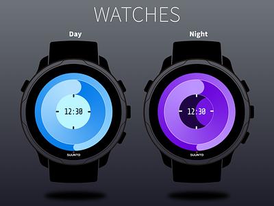 手表设计,白天/夜晚模式Watch design, day / night mode 3d art design ui