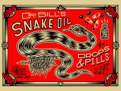 Snake Oil printmaking screenprint rockefeller standard oil snake oil big oil vector illustrator illustration art