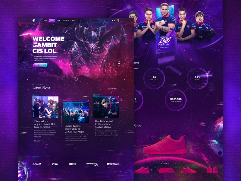 Gambit eSports fifa web ux ui leagueoflegends gaming fortnite esports dota2 dark csgo