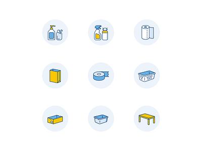 Supplies for COVID-19 Decontamination covid-19 health medicine medical icons icon