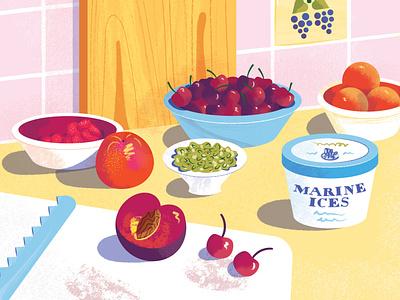Ice Cream Cake Prep pistachios raspberries food peach plum cherry still life food illustration recipe ice cream cake digital illustration illustration illustrator