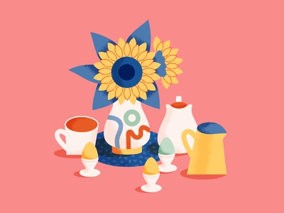 Brunch with Sunflowers coffee tea vase sunflowers digital illustration illustration egg cups breakfast brunch