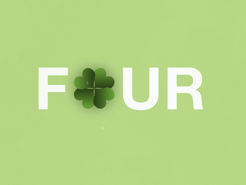 Four-Leaf Clover   Typographical Poster shapes helvetica poster leaf clover illustration minimal graphics simple typography