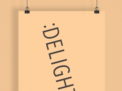 Delighted | Typographical Poster sanserif word delight humour poster illustration minimal graphics simple typography