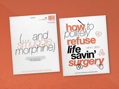 How To Refuse Surgery | Book Cover Parody effects icons textures text illustration typography simple mockup page layout cover book