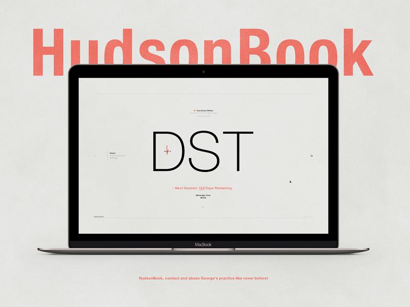 HudsonBook | Typographical Project ui design socialmedia saving daylight humour typography graphics simple