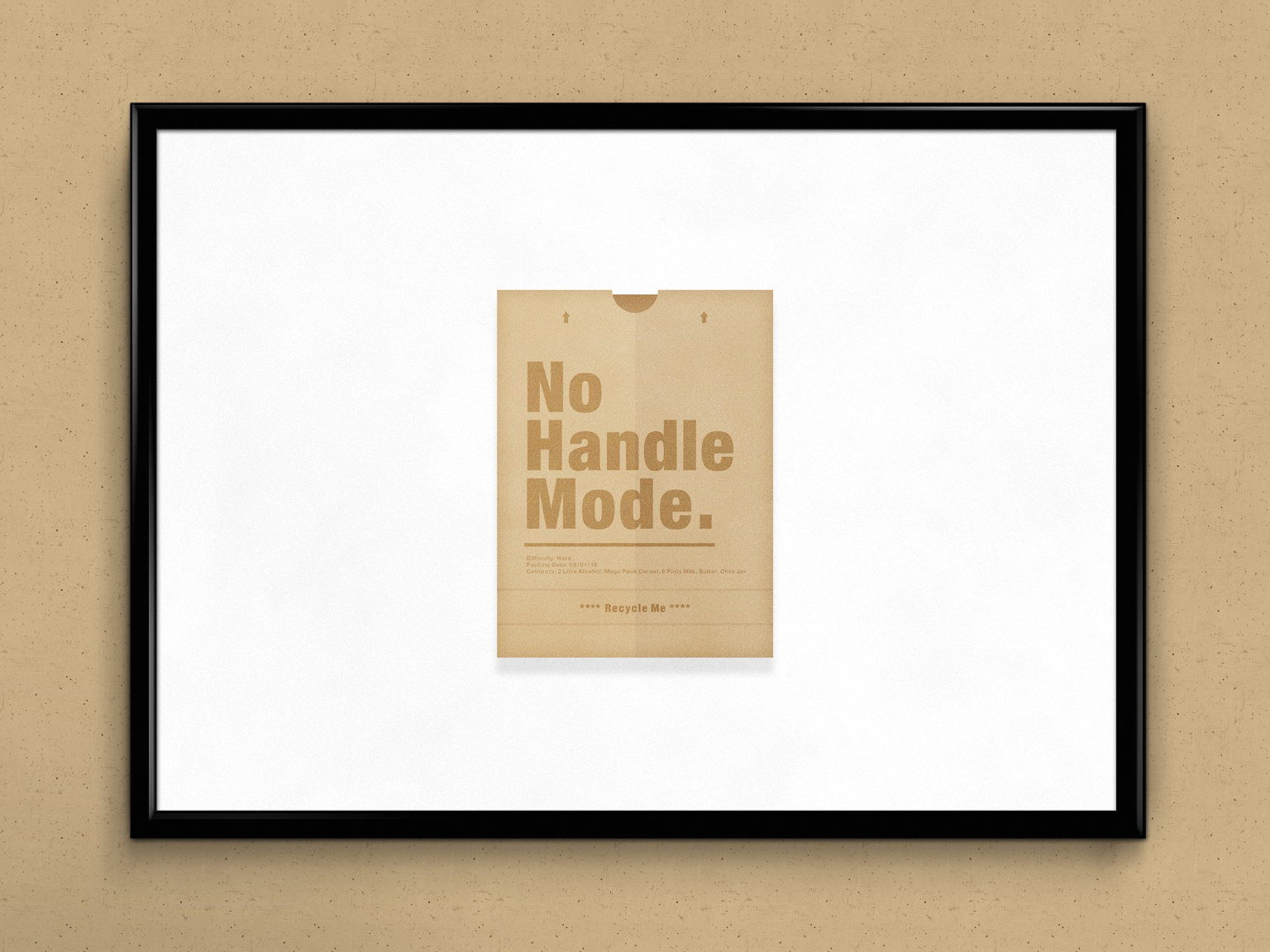 No Handle Mode. | Packaging Design typography text minimal art humour illustration graphics bag shopping minimal simple