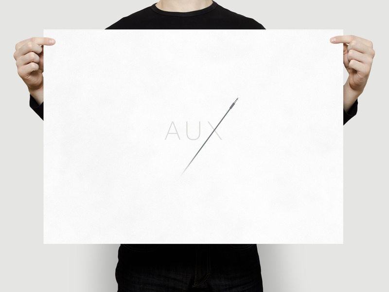 AUX | Typographical Poster narrative illustration graphics poster minimal simple sound audio cable aux