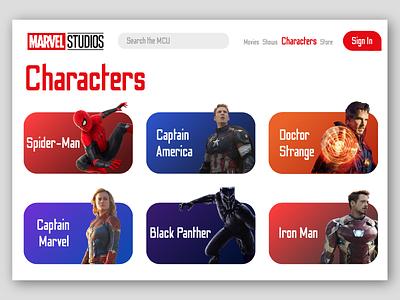 Marvel Characters UI ui design interface web concept concept web ui web web design marvel studios avengers desktop design illustraion marvel website ui
