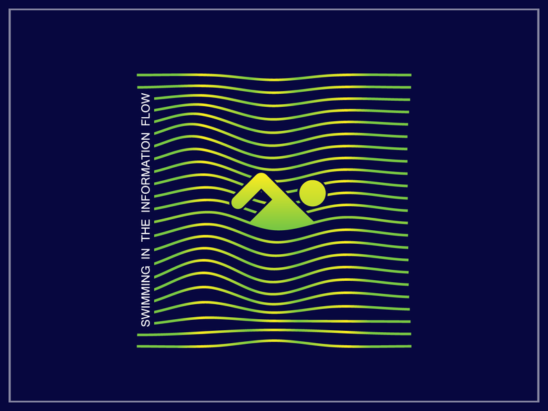 Swimming In The Information Flow swimmer human steam idea metaphor media adobe illustrator graphicdesign swimming flow digitalart digital internet information flat illustration