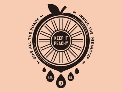 Keep it peachy! georgia atlanta peachy one-color cycle tire wheel bike peach badge stamp logo