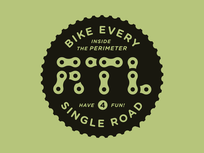 Biking every road inside the perimeter typography chain freewheel cassette gear stamp one-color georgia bicycle bike badge atlanta