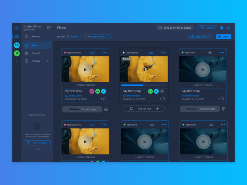 Web app for sound producers - night theme web ux ui