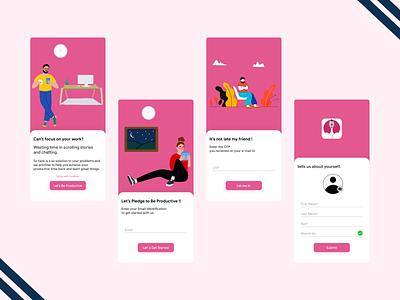 Be Productive Login Screens branding design app ui illustration