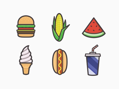 Summer snacks icons icon-pack summer design vector illustration food tools-of-the-trade flat simple burger ice-cream