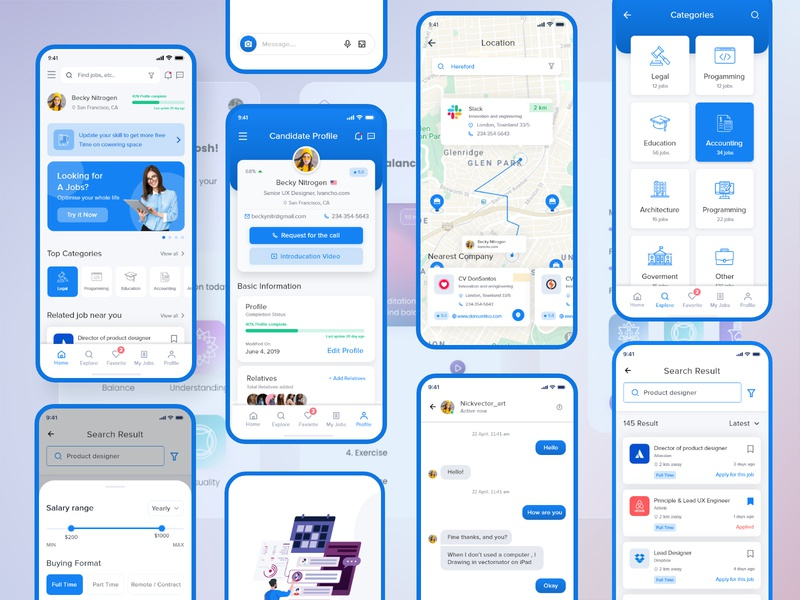 UI UX App Design social media social sales sale round media marketing logo invest globe global dots dot consulting company circle call center business blue