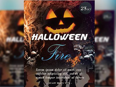 Halloween Fire Flyer Design flat business card animation illustrator vector illustration business logo design branding
