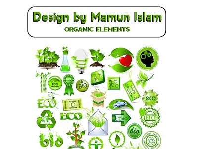 ORGANIC ELEMENTS typography animation illustration creative art illustrator vector design logo branding