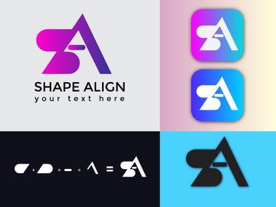 SA Letter Logo Design flat business card animation illustrator vector illustration business logo design branding sale