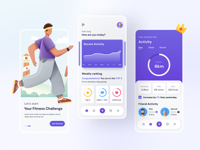 Fitness App Concept design dribbble invite pink concept application app design visual design showcase fitness app fitness uidesign uiux ui app