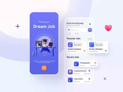 Find Jobs App Concept pure color concept design concept visual visual design job app job find job finder application app design app ui  ux ui design ui