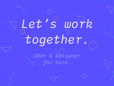 I'm available! dc metro frontend design ux ui forhire