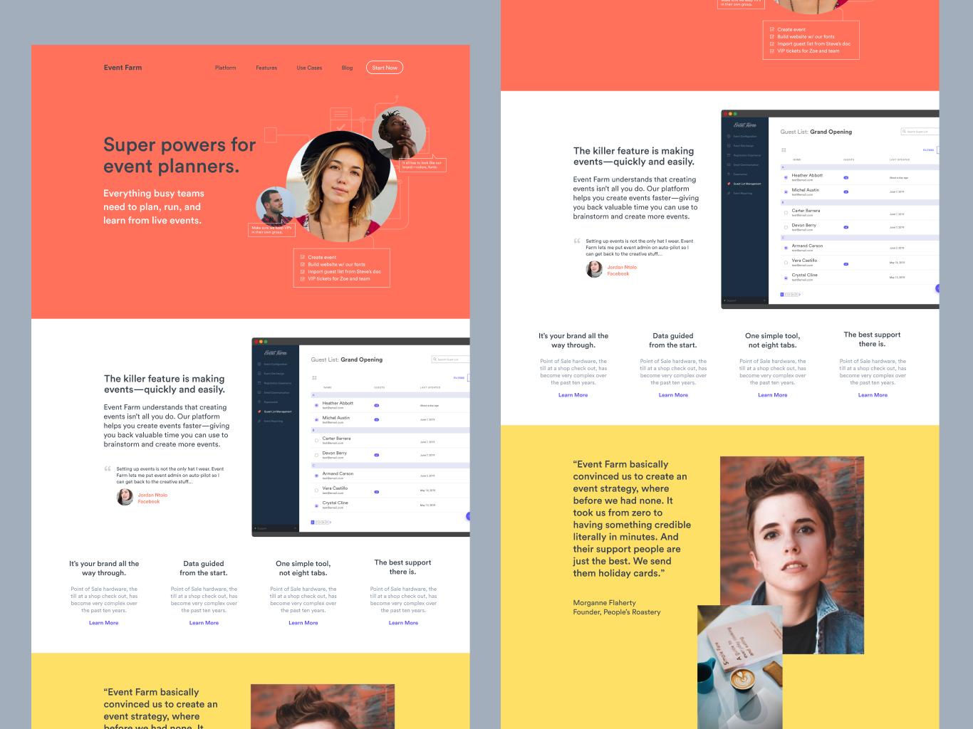 Homepage mocks